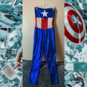 Captain America Metallic Strapless Bodysuit
